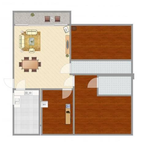 隆基怡苑77方三房户型图3室1厅2卫1厨92.00㎡户型图