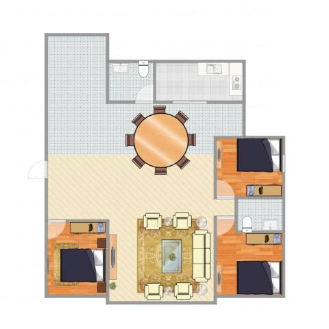 江津重齿满庭芳3室1厅2卫1厨128.00㎡户型图