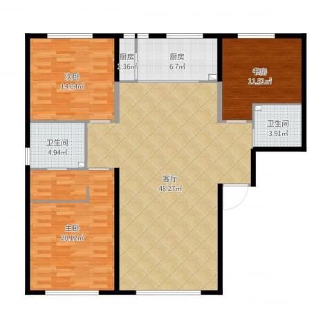 水木兰亭三期(A户型)3室1厅2卫2厨151.00㎡户型图
