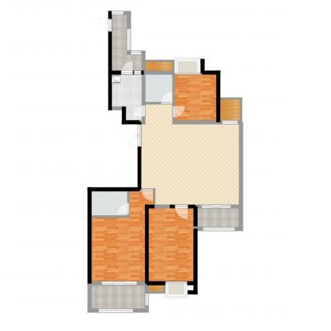中乐江南名都3室2厅2卫1厨135.00㎡户型图