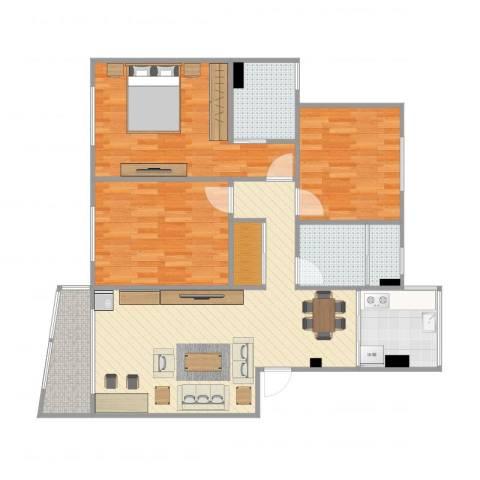 紫叶东园3室1厅3卫1厨111.00㎡户型图