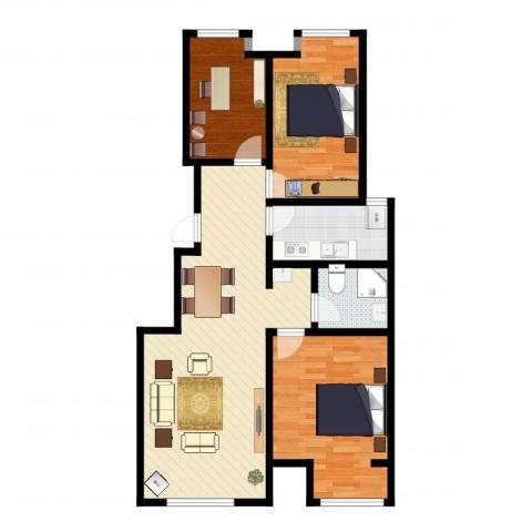 润达万科金域蓝湾3室2厅1卫1厨99.00㎡户型图
