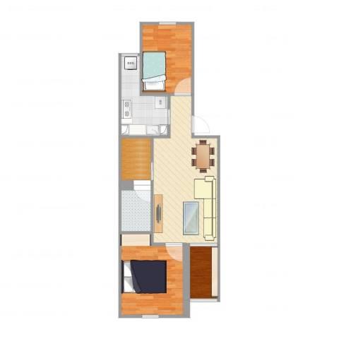 阳光南里3室1厅1卫1厨58.00㎡户型图