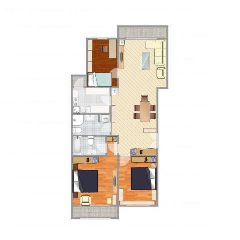 荷清苑3室1厅2卫1厨111.00㎡户型图