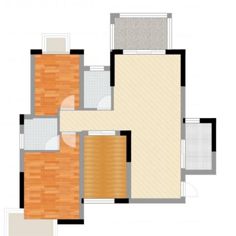 高信向日葵2室2厅2卫1厨87.00㎡户型图