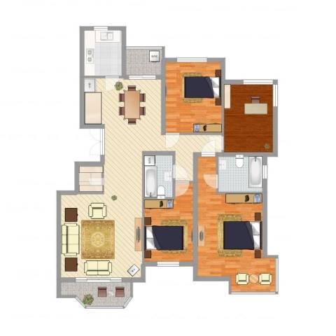 银丰山庄4室2厅2卫1厨149.00㎡户型图