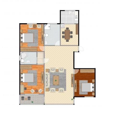 彩虹新村3室4厅2卫1厨136.00㎡户型图