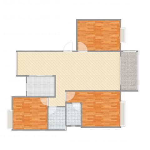高能上城3室2厅2卫1厨116.00㎡户型图