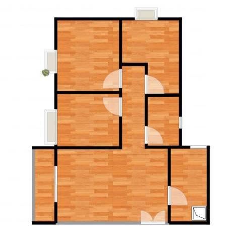 南悦花苑3室1厅1卫1厨61.00㎡户型图
