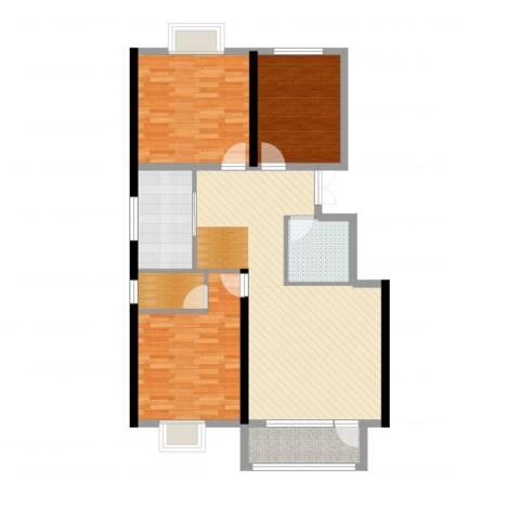 晨曦家园3室2厅2卫1厨109.00㎡户型图