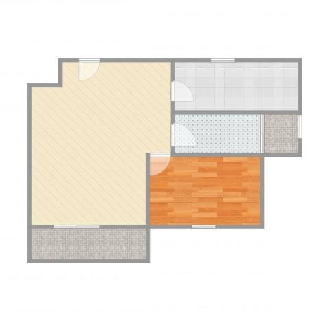 绿洲康城亲水湾二期1室1厅1卫1厨61.00㎡户型图