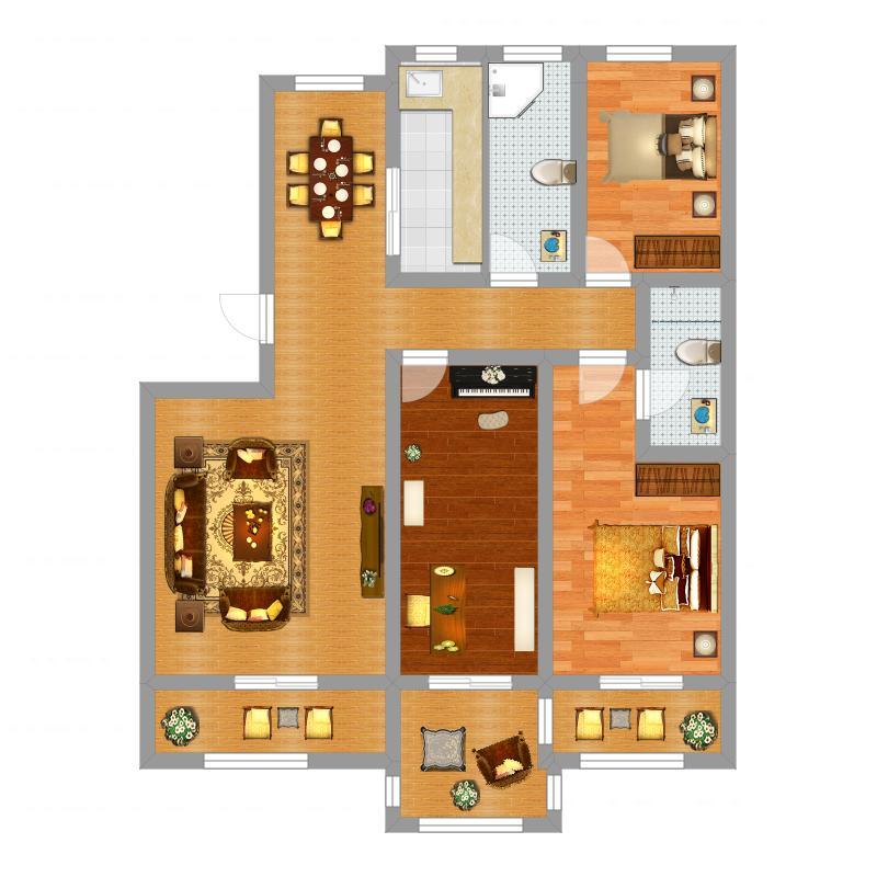 淮海御景湾125.00㎡三期洋房B户型3室2厅2卫1厨