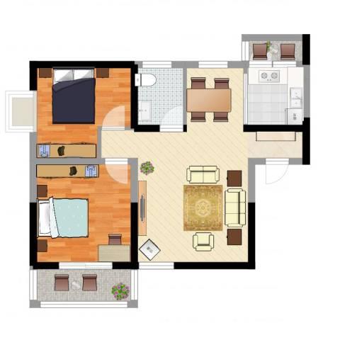 明坊2室2厅1卫1厨73.00㎡户型图