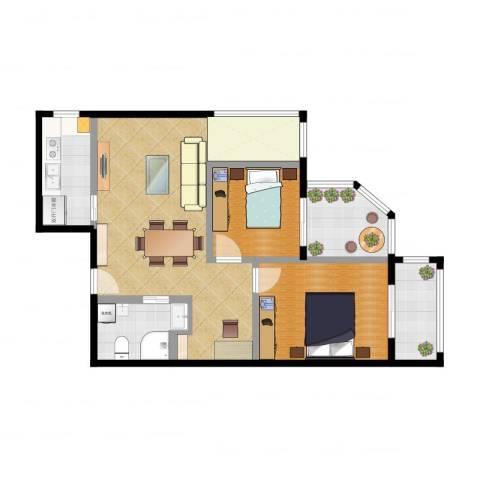 城市亮点2室2厅1卫1厨83.00㎡户型图