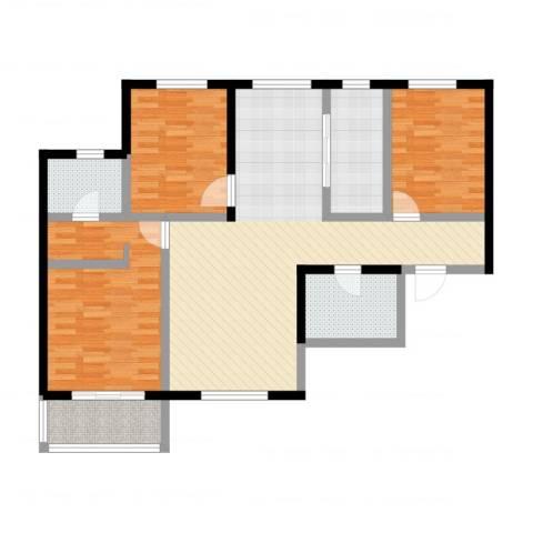 御龙湾3室2厅2卫1厨111.00㎡户型图
