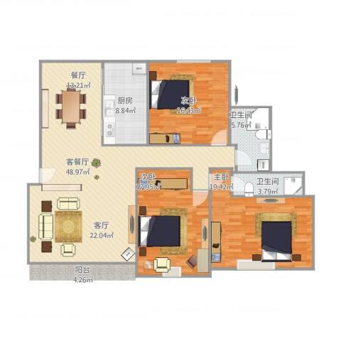 万科优诗美地3室2厅2卫1厨161.00㎡户型图