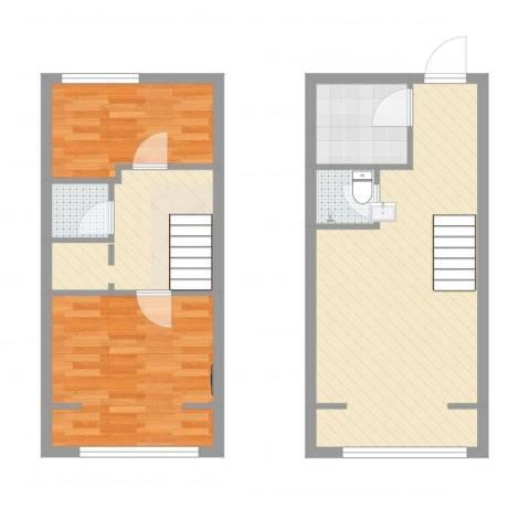 首邑溪谷2室1厅2卫1厨73.00㎡户型图