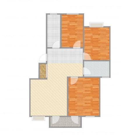 云锦美地3室1厅1卫1厨91.00㎡户型图