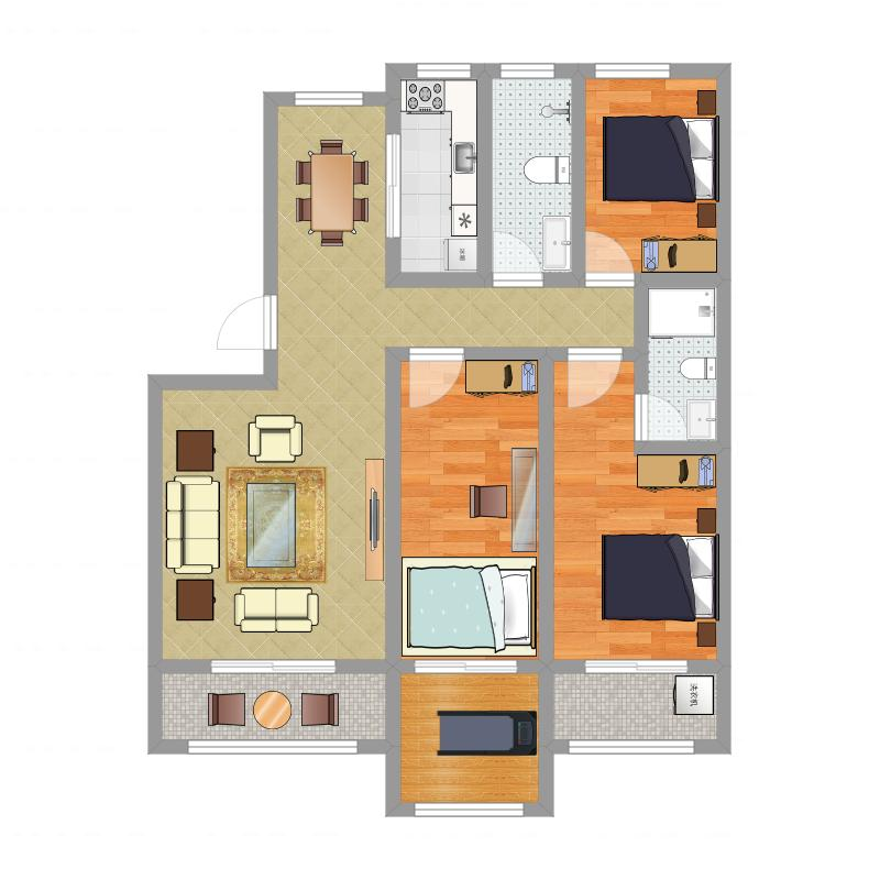 淮海御景湾125平方B户型3室2厅1厨2卫