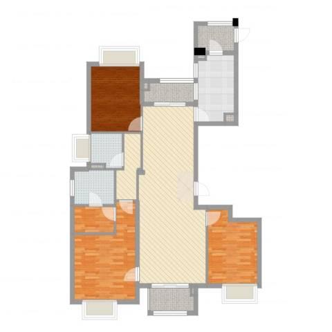 清华世界城3室2厅2卫1厨122.00㎡户型图