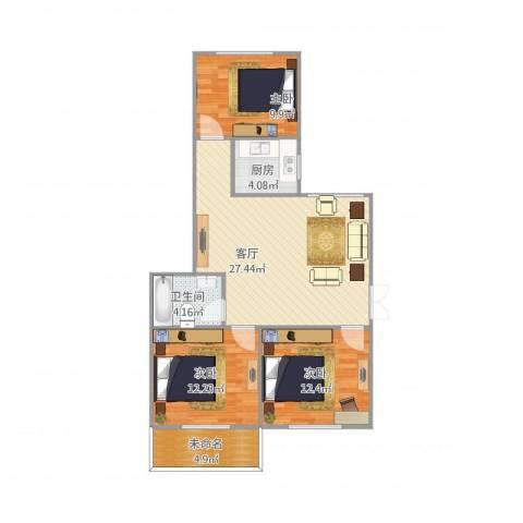 侨建花园3室1厅1卫1厨81.00㎡户型图