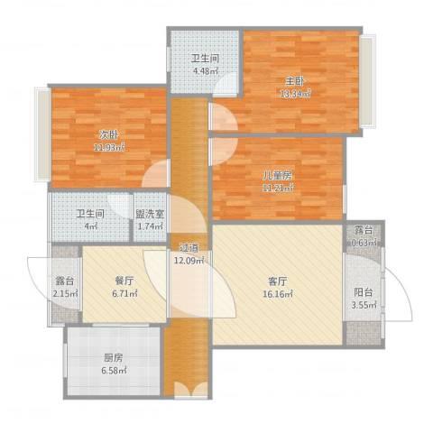 弘阳上城3室4厅2卫1厨129.00㎡户型图