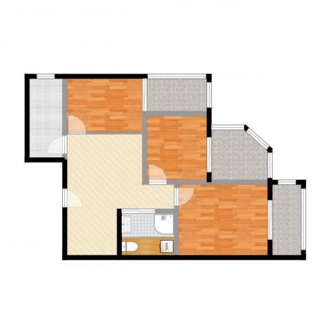 城市亮点3室1厅1卫1厨83.00㎡户型图