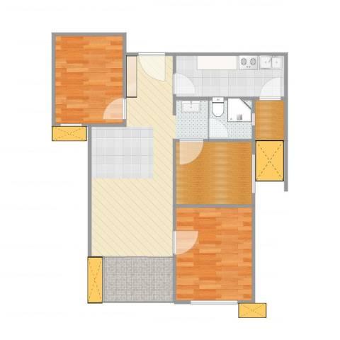 万科・金域东郡2室1厅1卫1厨77.00㎡户型图