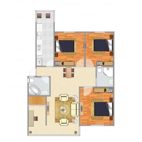 海怡花园3室1厅2卫1厨116.00㎡户型图