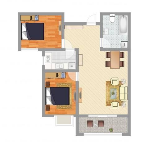 玉门河小区2室2厅1卫1厨82.00㎡户型图