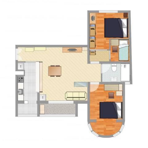 三环新城两居改三居3室2厅1卫1厨88.00㎡户型图