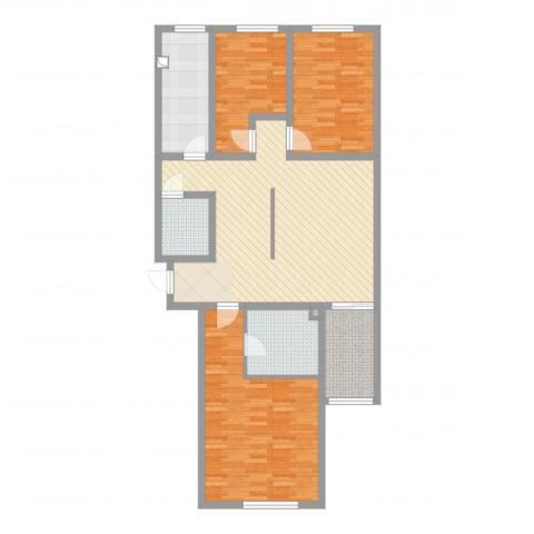 玉门河小区3室2厅3卫1厨117.00㎡户型图