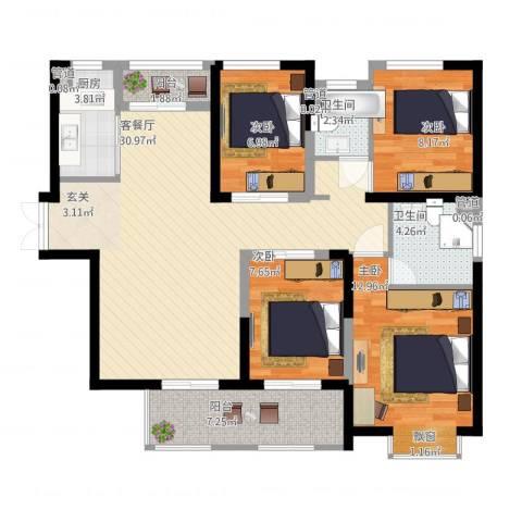 中环城紫荆公馆4室2厅2卫1厨125.00㎡户型图