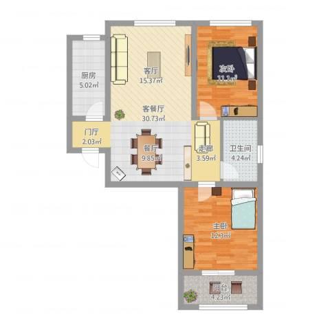 鹿城一号2室2厅1卫1厨96.00㎡户型图