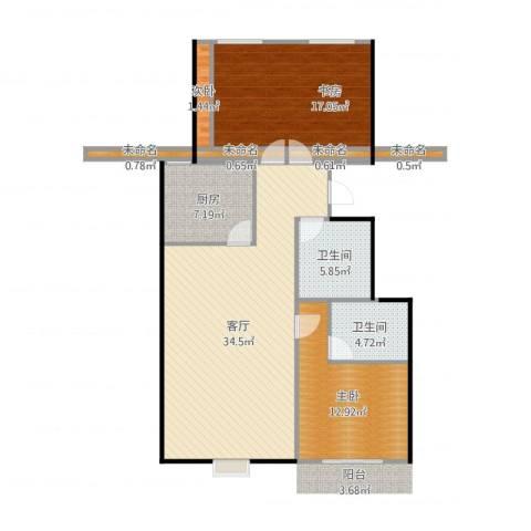 锦华名苑3室1厅2卫1厨117.00㎡户型图
