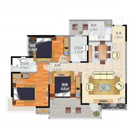 巨成龙湾3室2厅2卫1厨98.00㎡户型图