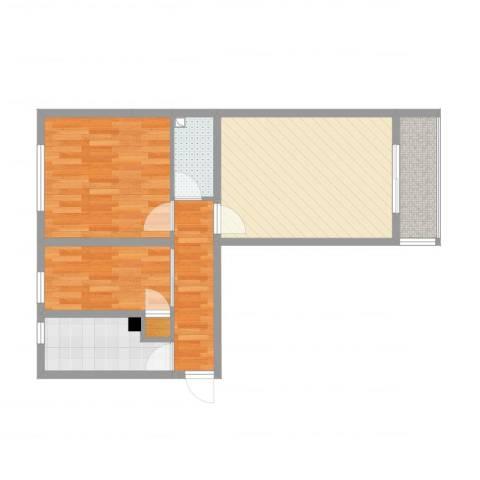万寿路1号院2室1厅1卫1厨52.00㎡户型图