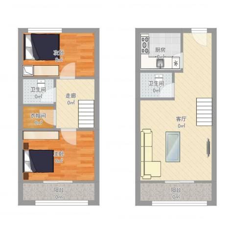 首邑溪谷2室1厅2卫1厨72.00㎡户型图