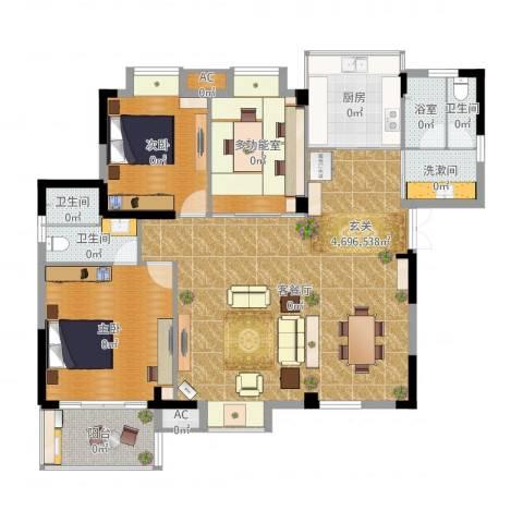 黄州宇济一号2室2厅3卫1厨143.00㎡户型图