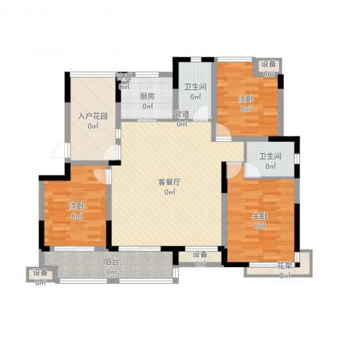 绿地波士顿公馆3室2厅2卫1厨121.00㎡户型图