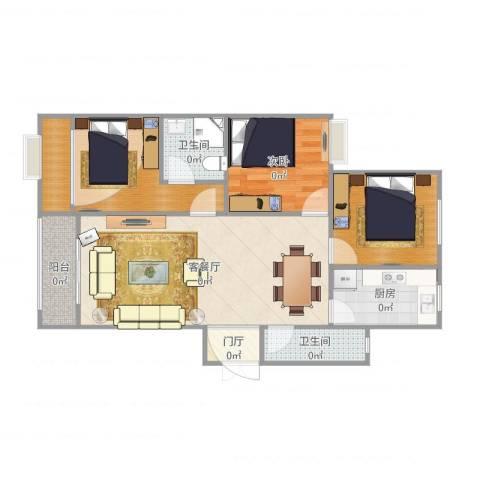 郁金蓝湾1室2厅2卫1厨88.00㎡户型图