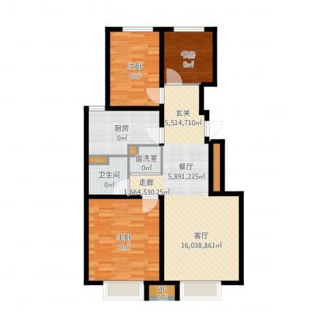 万科金域长春3室2厅1卫1厨92.00㎡户型图