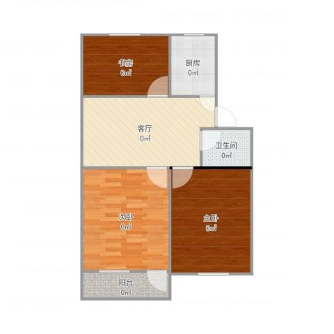 彩香一村3室1厅1卫1厨72.00㎡户型图