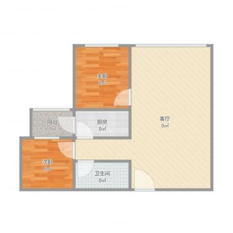航天城小区2室1厅1卫1厨60.00㎡户型图