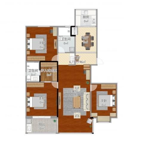 彩虹新村3室2厅2卫1厨135.00㎡户型图