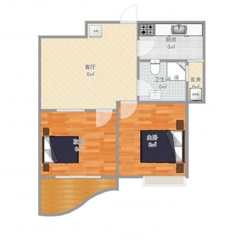 棕榈滩海景城2室1厅1卫1厨67.00㎡户型图