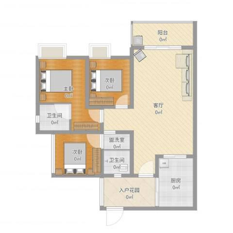 金华世家3室3厅3卫1厨105.00㎡户型图