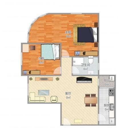 东方之珠花园e栋07户型图2室1厅1卫1厨87.25㎡户型图