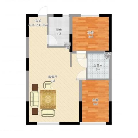 中海凤凰熙岸2室2厅1卫1厨72.00㎡户型图