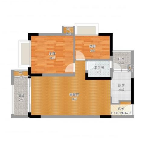 合正锦园二期2室2厅1卫1厨75.00㎡户型图